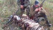 Охота на утку с подхода. 4 охотника и собака