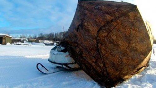 Мобильный тёплый гараж для снегохода за 5 минут