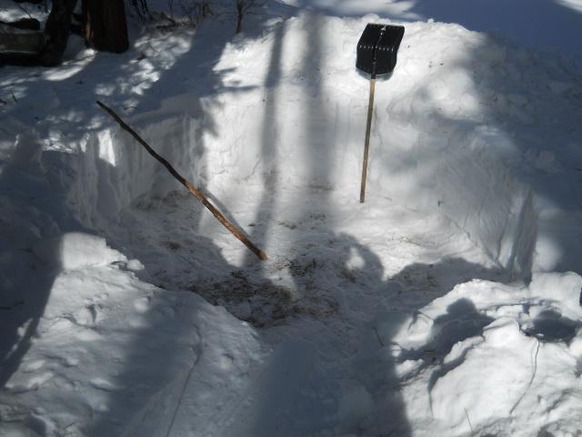 Очистка снега под палатку